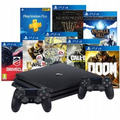 PS4 PRO 1TB MODEL 7216B+2x PAD V2+7 GIER + PS PLUS