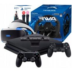 PS4 PRO 1TB +2 PADY+ZESTAW VR+2x MOVE+KIEROWNICA