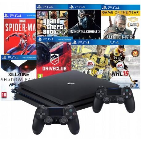 PS4 PRO 1TB PS4+2X PAD V2+ MEGA ZESTAW 8 GIER