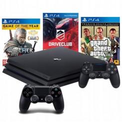 PS4 PRO 1TB PS4+2X PAD+ GTA V+DRIVECLUB+WIEDŹMIN