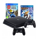 PS4 KONSOLA PRO 1TB + 2x PAD +RATCHET+LEGO CITY