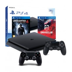 PS4 SLIM 500GB+2x PAD+DRIVECLUB+UNCHARTED 4