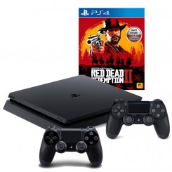 PS4 SLIM 500GB + 2x PAD V2 + RED DEAD REDEMPTION 2