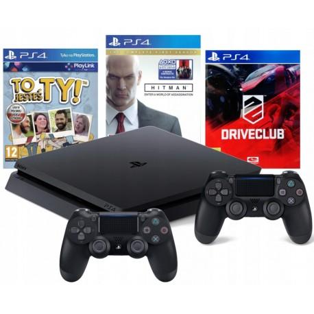PS4 SLIM 1TB+2x PAD+DRIVECLUB+HITMAN+TO JESTEŚ TY