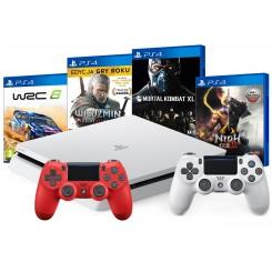 PS4 SLIM 500GB BIAŁA+CZERWONY PAD+WRC 6+MORTAL XL+NIOH 2+WIEDŹMIN 3