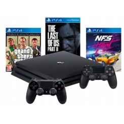 PS4 KONSOLA PRO 1TB + 2x +NFS+GTA V+THE LAST OF US 2