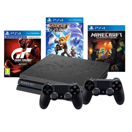 PS4 PRO 1TB LIM+ 2X PAD+GT SPORT+MINECRAFT+RATCHET
